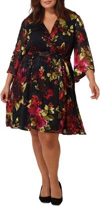 Maree Pour Toi Floral Print Burnout Wrap Dress