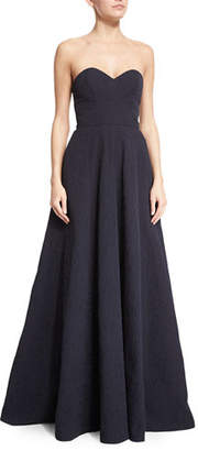 Lela Rose Strapless Sweetheart-Neck Gown