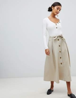 Asos DESIGN full midi skirt with self belt