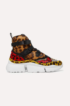 Chloé Sonnie Leopard-print Calf Hair High-top Sneakers - Leopard print