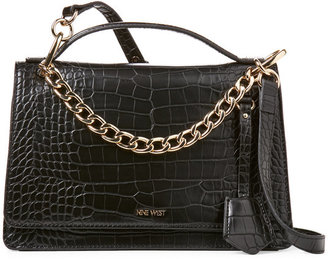 Nine West Black Baldree Croc-Embossed Shoulder Bag