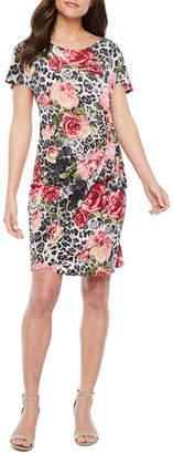 Robbie Bee Short Sleeve Leopard Floral Sheath Dress