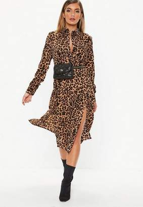 Missguided Brown Leopard Midi Shirt Dress
