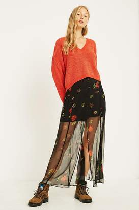 Urban Outfitters Sheer Floral Button-Front Maxi Skirt