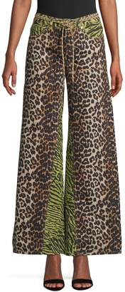 Ganni Printed Denim Pants