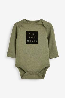 Next Boys Camouflage 5 Pack Slogan Long Sleeve Bodysuits (0mths-2yrs) - Green