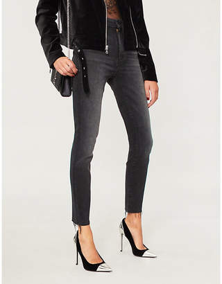 Mother Looker frayed-cuff high-rise skinny jeans