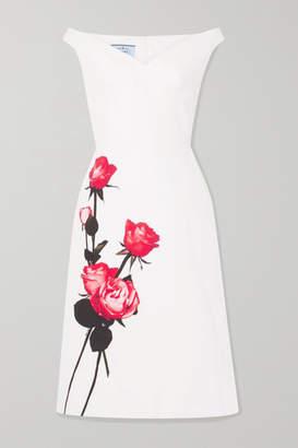 Prada Off-the-shoulder Floral-print Cotton-poplin Midi Dress - White