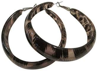 Kenneth Jay Lane Taupe/Black Animal Print Acrylic Large Hoop Pierced Earrings