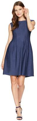 Taylor Textured Pintuck Fit and Flare Dress Women's Dress