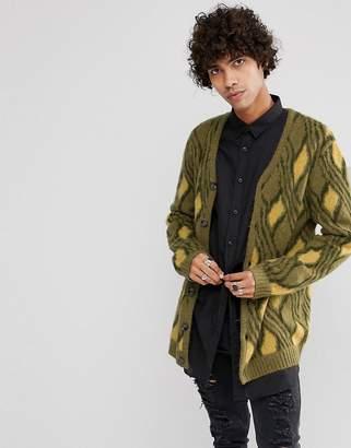 Asos Mohair Wool Blend Cardigan With Vintage Design