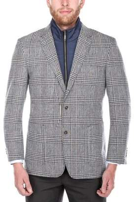 Verno Men's Navy and Brown Plaid Wool Blend Sports Coat with Removable Bib