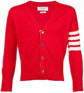 Thom Browne Short V-Neck Cardigan With 4-Bar Stripe In Red Cashmere