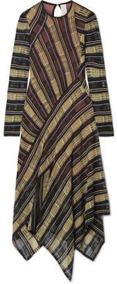 Peter Pilotto Asymmetric Metallic Open-knit Midi Dress - Black