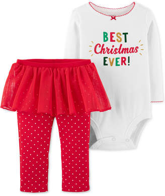 Carter's Baby Girls 2-Pc. Holiday Bodysuit & Tutu Leggings Set