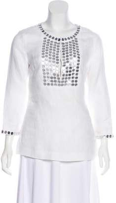 Tory Burch Embellished Linen Blouse