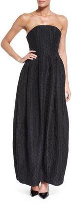 Armani Collezioni Strapless Polka-Dot Gown, Black $2,395 thestylecure.com