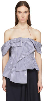 Enfold Blue and White Striped Off-The-Shoulder Blouse