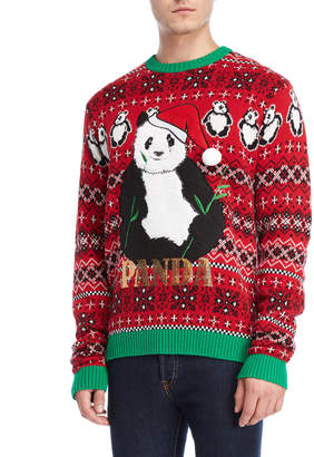33 Degrees Panda Santa Sequin Christmas Sweater