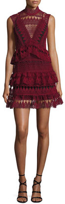 Self-Portrait Sleeveless Tiered Lace Mini Dress, Burgundy $555 thestylecure.com