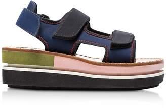 Marni Eclipse Blue Neoprene Wedge Sandals