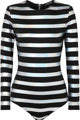 Balmain Striped Iridescent Cotton-jersey Bodysuit