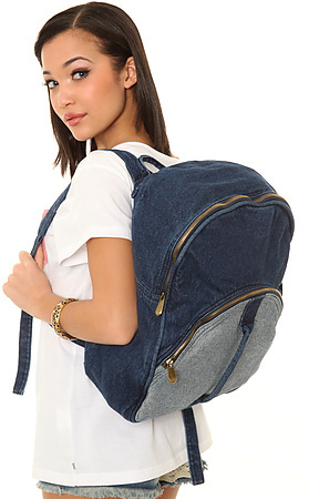 Street Level The Mixed Denim Backpack