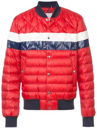 Moncler striped padded bomber jacket