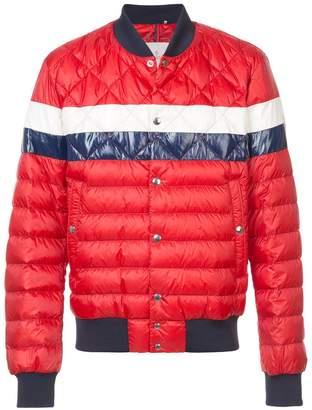 Moncler striped padded bomber jacket