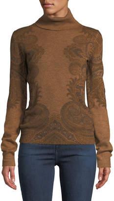 Etro Turtleneck Paisley-Intarsia Cashmere Pullover Sweater