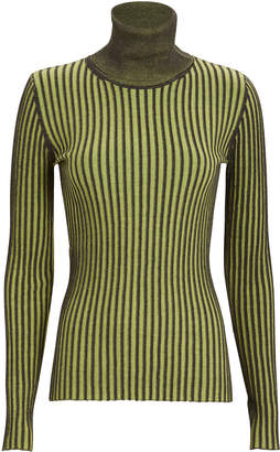 McQ Striped Cotton Turtleneck Sweater