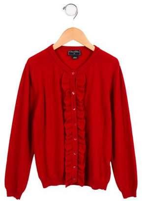 Oscar de la Renta Girls' Ruffle-Trimmed Wool Cardigan