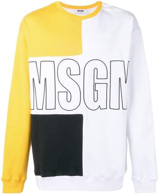 MSGM colour block branded sweater