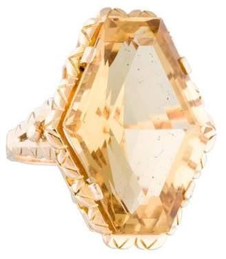 Ring 18K Citrine Elongated Hexagonal
