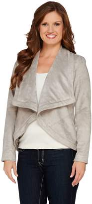 Halston H By H by Faux Suede Long Sleeve Open Front Jacket