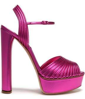 Casadei Metallic Leather Platform Sandals