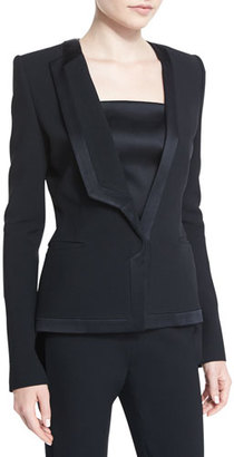 Thierry Mugler Satin-Trim Tuxedo Jacket, Black $2,510 thestylecure.com