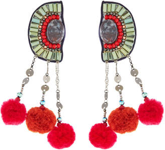 Nakamol Pompom Half-Circle Earrings