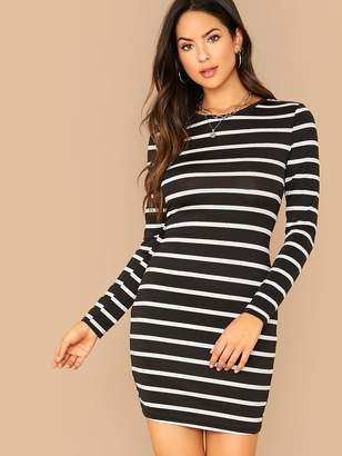 Shein Long Sleeve Striped Bodycon Dress