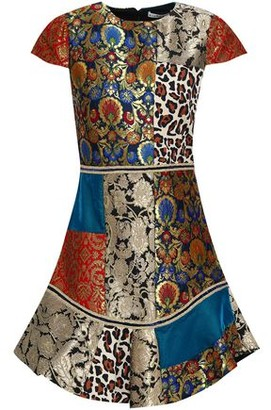 Alice + Olivia Rapunzel Patchwork Brocade, Printed Crepe And Satin Mini Dress