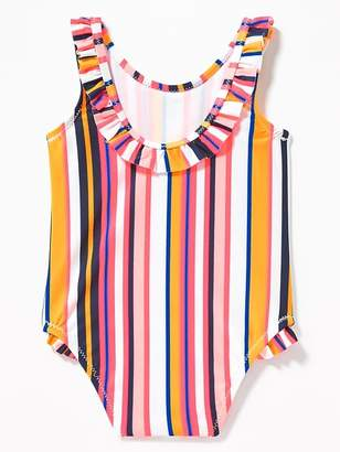 Old Navy Striped Ruffle-Trim Swimsuit for Baby