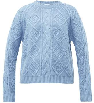 Allude Cable Knit Wool Sweater - Womens - Light Blue