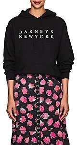 Barneys New York Women's Logo Cotton-Blend Fleece Hoodie - Black