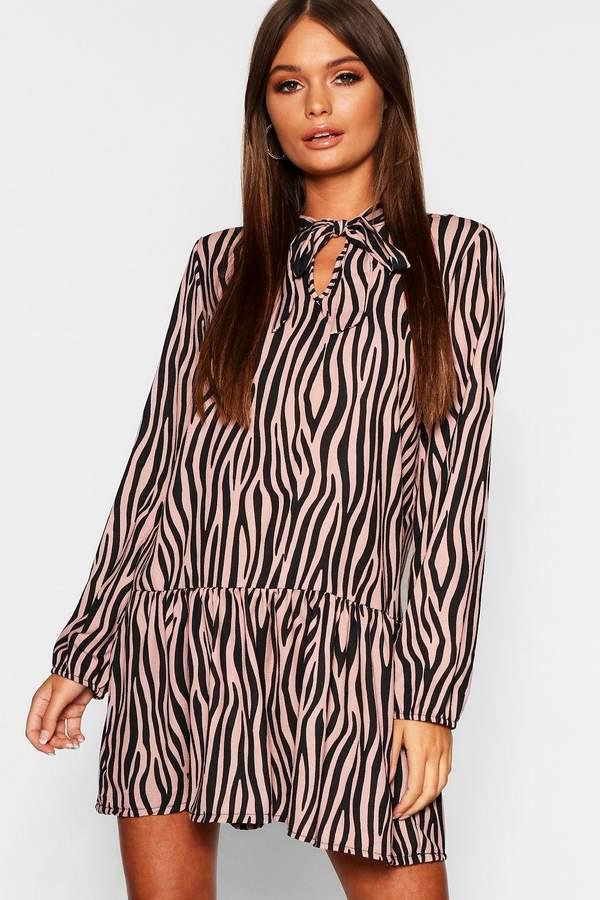Zebra Print Pussy Bow Smock Dress