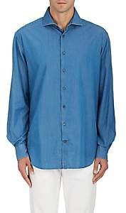 Barneys New York MEN'S COTTON DENIM SHIRT-BLUE SIZE 15.5 L