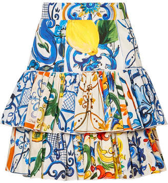 Dolce & Gabbana Tiered Printed Cotton-poplin Mini Skirt - Blue