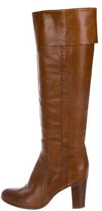 Sigerson Morrison Leather Round-Toe Knee-High Boots