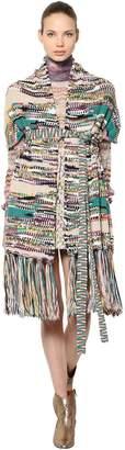 Missoni Wool Blend Knit Shawl With Belt