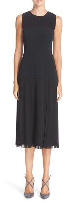 Women's Nordstrom Signature And Caroline Issa Pleated Stretch Satin Dress $899 thestylecure.com
