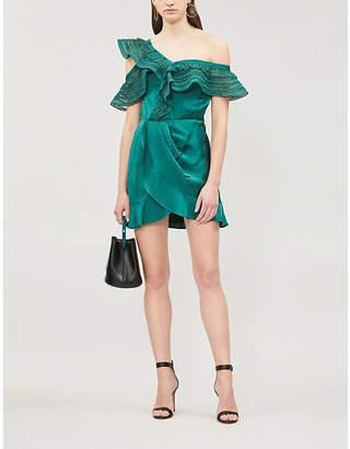 Self-Portrait One-shoulder ruffle-trimmed satin-jacquard dress